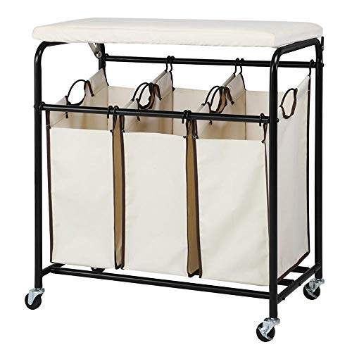 Yaheetech Heavy Duty 3-Bag Rolling Laundry Hamper Sorter with Ironing Board and 4 Wheels ()