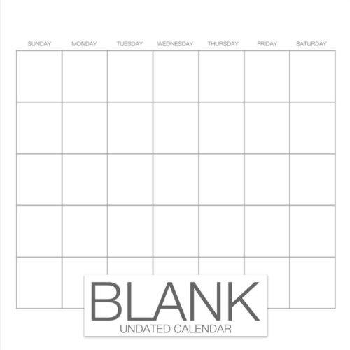 Blank Undated Calendar: Undated Monthly Calendar Book, 8.5 x 8.5, 12-Months Blank White DIY Calendar (Blank Calendar (Blank Daily Calendar)