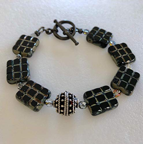 Finish Gunmetal Accents - Black And Silver Czech Glass Bracelet, Premium Czech Glass, Rustic Picasso Finish, Gunmetal Accents, Toggle Clasp, Beaded Bracelet.
