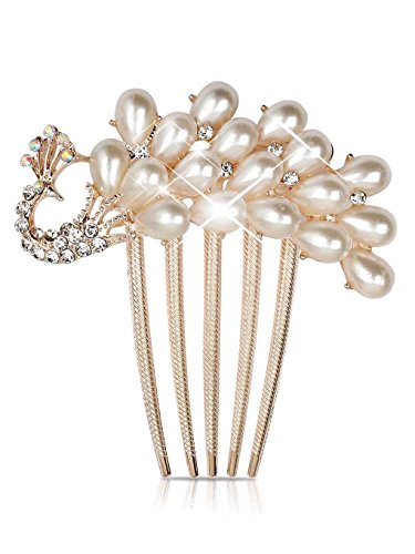 Aukmla Hair Combs Accessories with Bead for Women and Girls (Peacock Style)
