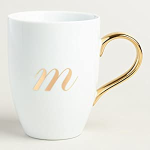 gold monogram white porcelain coffee mug tea cup letter m by world market