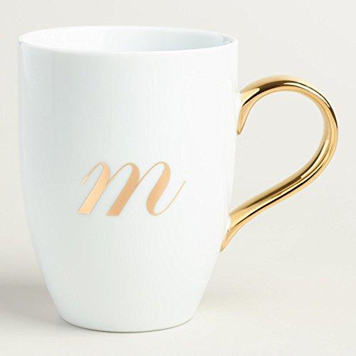 Gold Monogram White Porcelain Coffee Mug Tea Cup Letter M by World Market