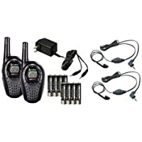 COBRA CXT225 20 Mile GMRS/FRS 2-Way Radio Walkie Talkies + (2) Earbud & Mic Sets