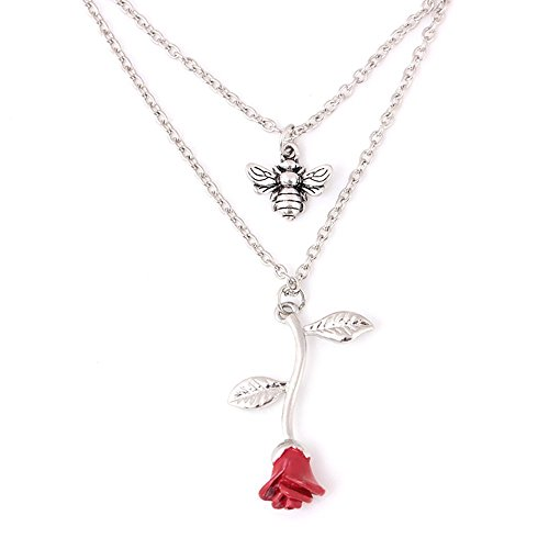 MIXIA Exquisite Red 3D Vintage Rose Bee Double-Layer Necklace Flower Insect Pendant Clavicle Chain Chokers Necklace Jewelry ()