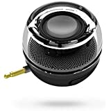 Gadget.Cool Smartphone 3.5mm Aux Audio Jack Plug in Line-in Speaker Mini Compact Round Shape Powerful Clear Bass with Built-in Battery Micro USB Port + Multi Funtion Phone Stand(black)