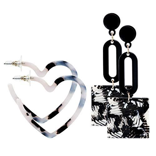 DHMK 2 Pairs Acrylic Hoop Earrings, Mottled Love Heart Drop Dangle Earrings Geometric Stud Earrings for Women Girls, Birthday Thanksgiving Christmas Jewelry Gifts ()