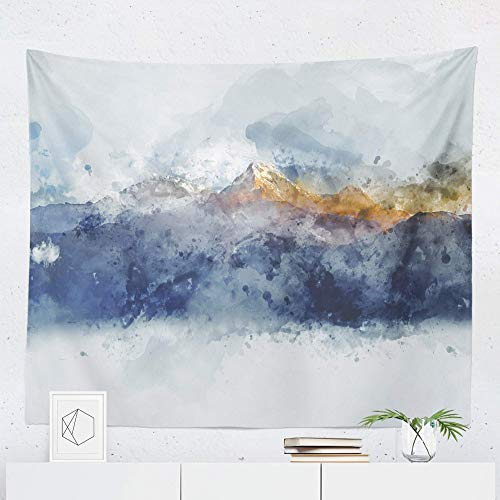 Watercolor Mountain Tapestry Wall Hanging Landscape Scenic Nature Wall Tapestries Dorm Room Bedroom Decor Art - Printed in the USA - Small to Giant Sizes