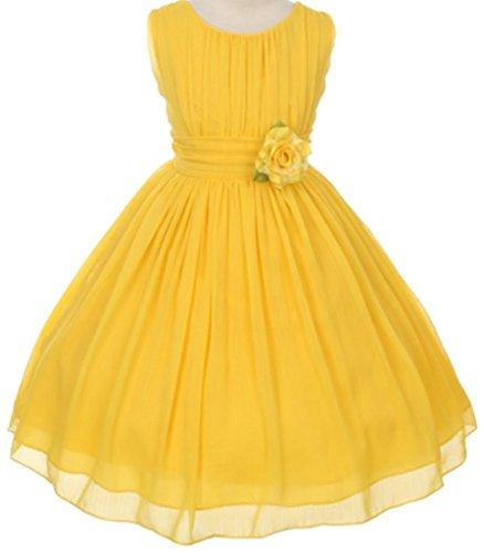 Big Girls' Elegant Yoryu Wrinkled Chiffon Summer Flowers Girls Dresses Yellow 12 G35G34
