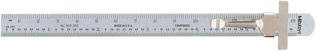950-301 MITUTOYO Steel Pocket Rule,Stl,Inch,32nds,64ths,6 In L