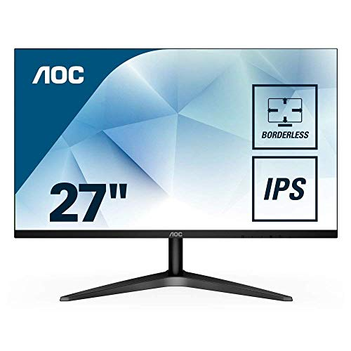 "AOC 27B1H 27"" Full HD 1920x1080 monitor, 3-sided Frameless, IPS Panel, HDMI/VGA, Flicker-Free"