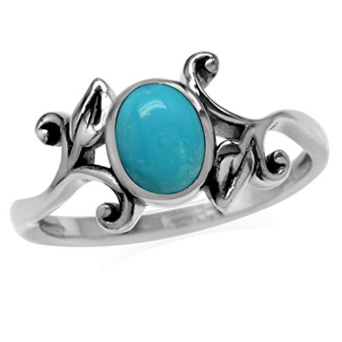 8x6MM Genuine Oval Shape Arizona Turquoise 925 Sterling Silver Leaf Vintage Inspired Ring Size 4 ()