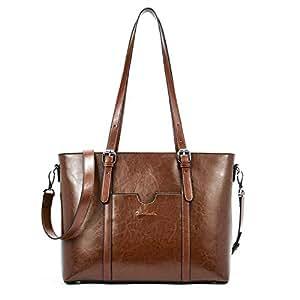 "BOSTANTEN Women Leather Laptop Shoulder Handbag Vintage Briefcase 15.6"" Computer Work Tote Bag Brown Coffee Medium (L) 16.14"" x (W) 4.72"" x (H) 11.02"""