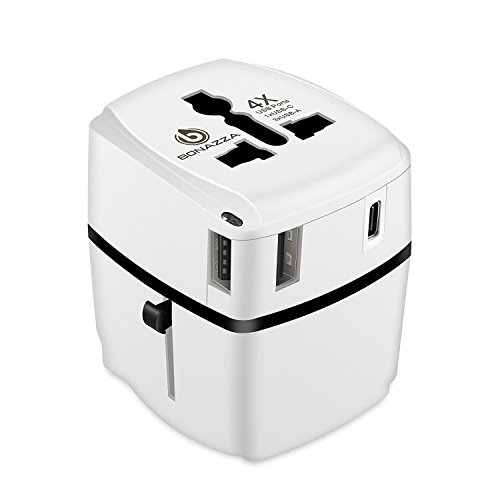Universal Travel Plug (BONAZZA Universal World Travel Plug Power Adapter w/4 Fast Charging USB Port (3 USB A +1 USB C) International Plugs Adaptor for US, AU, Asia, Europe, UK Plug Adapters Compatible Over 150 Countries)