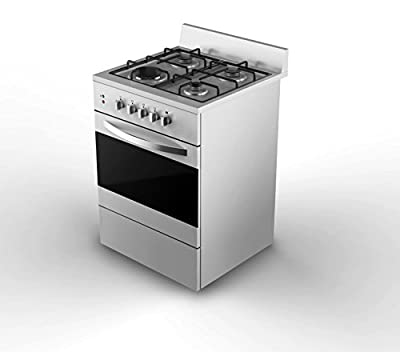 "Empava 24"" Stainless Steel Slide-In Gas Range 2.3 Cu. Ft Single Oven with Rotisserie Function and 4 Italy Sabaf Sealed Burner Gas Cooktop"