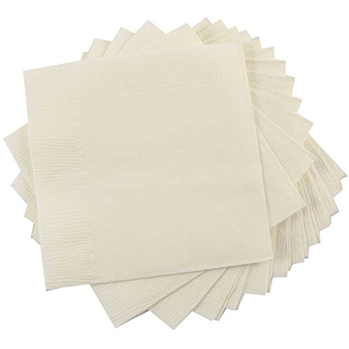 JAM PAPER Small Beverage Napkins - 5 x 5 - Ivory - 50/Pack ()