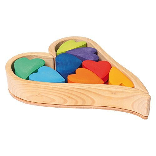 格安販売の Grimm's Wooden Grimm's Heart Blocks Blocks Building & Stacking Play B01K1UKJ1I Set, Rainbow Hearts [並行輸入品] B01K1UKJ1I, 豊明市:cdfb1207 --- clubavenue.eu