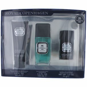Royal Copenhagen Gift Set - Rõyal Cõpenhãgen Cologné for Men 3 Piece Gift Set includes: a 3.4 oz Eau De Cologne Spray, a 3.4 oz Hair and Body Wash & a 2.5 oz Alcohol Free Deodorant Stick.