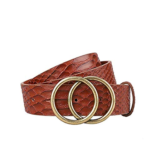 Gackoko Women Leather Belt for Dress & Jeans Fashion Soft Leather with Double O-Ring Buckle (S,...