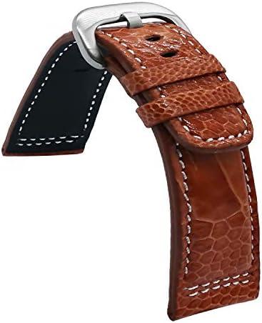 バックルが付いている28mmのブラウンのダチョウの足の皮の革時計バンドの時計バンド