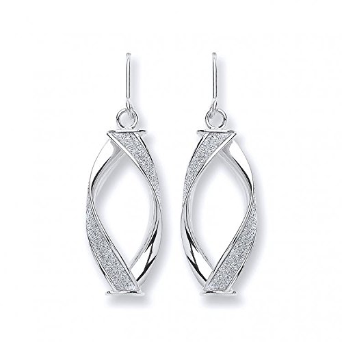 9 ct or blanc Twist Lune Boucles d'oreilles 2,5 g
