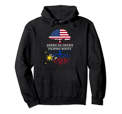 Unisex American Grown with Filipino Roots - Philippines Hoodie XL: Black