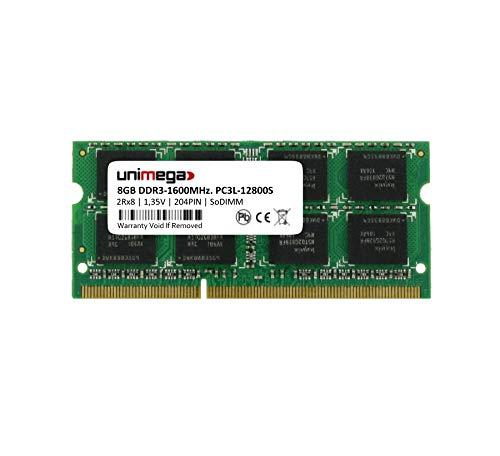 unimega 8 GB (1x 8 GB) DDR3 1600 MHz PC3L-12800S 204PIN 1,35 V SoDIMM RAM-geheugen
