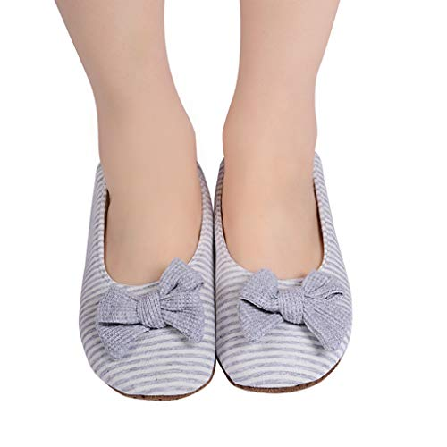 Panda Bros Women's Ballerina House Slippers,Anti-Skid Comfy Warm Ballet Style Slippers(Gray Stripe,5-7.5)