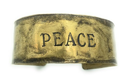 Antiqued Stamped Brass - Hammered Antiqued Brass Hand-Stamped Cuff Bracelet | Peace | 1 In Wide Cuff