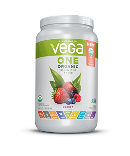 Vega One Organic All-in-One Shake Berry (18 Servings, 24.3 oz) - Plant Based Vegan Protein Powder, Non Dairy, Gluten Free, Non GMO