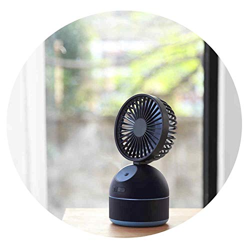 (No Buy No Bye 2000mAh Battery Operated Mini Fan 200ml Air Humidifier USB Rechargeable 8W 3 Speed Adjustable Mist Spray Fan Humidificador,Blue)