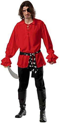 [Rubie's Costume Co Men's Cotton Red Pirate Shirt, Red, X-Large] (Medieval Shirt Adult Costumes)