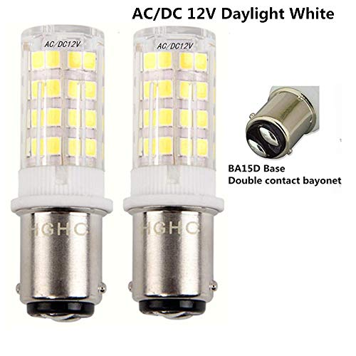 - 5W Ba15d LED Light Bulb AC/DC 12V Daylight 6000K 35W Equivalent, Double Connect SBC Bayonet Ba15d 1141 1156 1073 1093 LED Replacement Lamp for Interior RV Camper Lighting (Pack of 2)