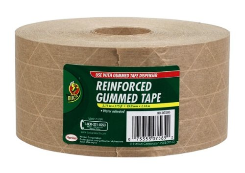 Duck Brand HD Reinforced Gummed Kraft Paper Tape, 2.75 Inches x 375 Feet (964913) (Packing Paper Tape)
