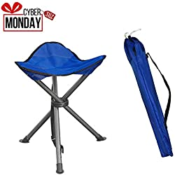 Portable Folding Tripod Stool Silver Flower Coated Slack Chair Lightweight Heavy Duty with Bag Perfect for Outdoor Recreation, Camping, Travel, Photography, Hiking, Garden and Home-using, Warranty