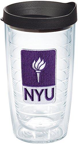 Tervis 1145843 Nyu Violets Logo Tumbler With Emblem And Black Lid 16Oz  Clear