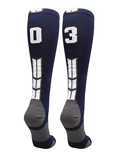 Football Navy Kids - MadSportsStuff Navy/White Player Id Over The Calf Number Socks (#03, Small)