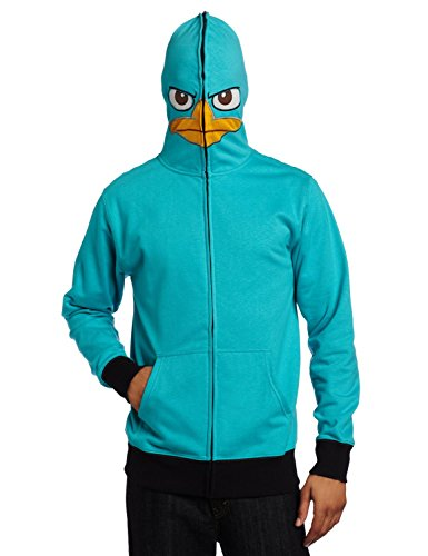 Phineas & Ferb Men's I am P Fleece Hoodie, Turquoise, (Phineas And Ferb Agent P Hoodie)