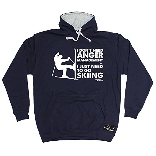 Effect Monkeez - I Don't Need Anger Management Skiing Hoody Snowboarding Ski Top Boarding Winter Goggles Birthday Gift Christmas Present - 2 Shade HOODIE