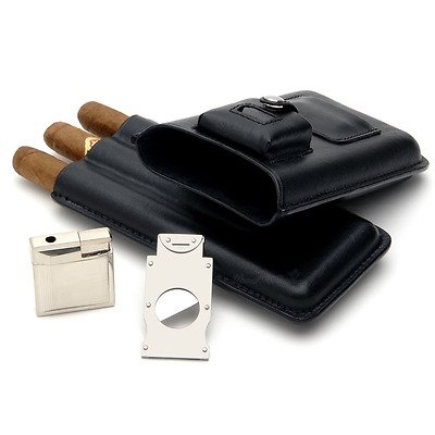 Mantello Cigar Case with Lighter and Cutter Genuine Leather Gift ()
