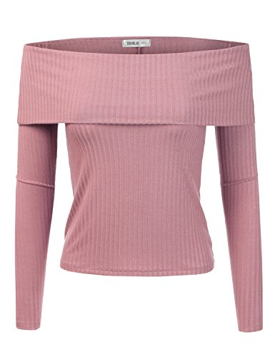 Doublju Slim Fit Ribbed Knit Off The Shoulder Blouse Top (Plus size available) ROSE LARGE