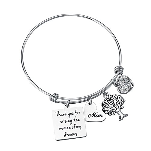 Miss Pink Mother in Law Gifts from Son in Law Thank You for Raising The Woman of My Dreams Charm Bangle Bracelet Wedding Party Mothers Day Jewelry (Best Gift For My Father In Law)