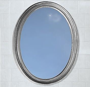 Amazoncom Satin Nickel Decorative Oval Framed Wall Mirror Home