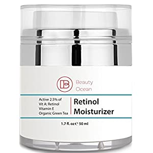Retinol Moisturizer Cream 2.5%(1.7 oz) for Face and Eye - Retinol and Hyaluronic Acid, Vitamin E and Green Tea - Use Night Cream - For Anti-Aging, Acne, Wrinkle - from Beauty Ocean