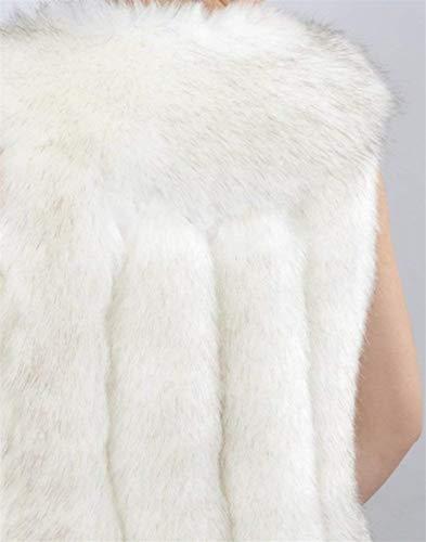 Spécial Hiver Manteau Jacken Style Mode Elégante Patte Outerwear Taille Blanc Confortable Vintage Gilet Femme Synthétique Fourrure Automne Grande Boutonnage Manches De Sans Casual 4Eqnp4w8U7
