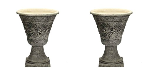 Set of 2 - Southern Patio Natural Stone Look Urn - UV Resistant Resin NO FADE - 16