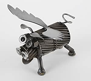 Engine-New-Ity Upcycled Metal Sculpture Petunia the Pig with Wings ENC025