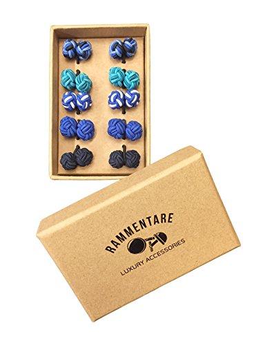 Rammentare Silk Knot Cufflinks - Gift Set 5 Pairs - Mixed Blue, Pink, Black, Green or Yellow