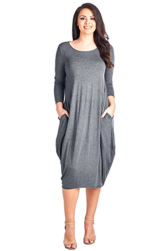 12 Ami Plus Size Solid 3/4 Sleeve Bubble Hem Pocket Midi Dress Charcoal XL