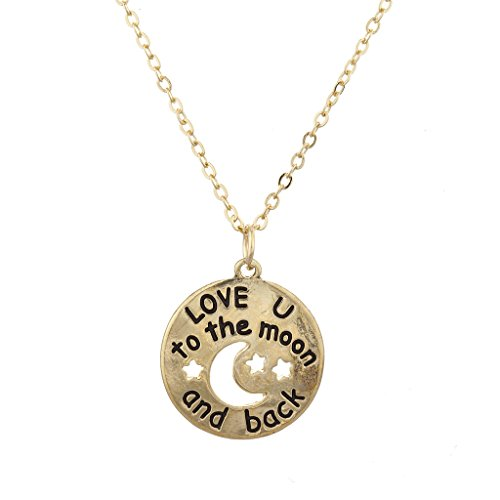 Lux Accessories Goldtone Love U to The Moon Back Cutout Celestial Charm  Necklace