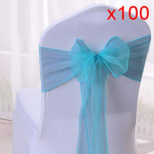 10/20/50/100pcs Organza Chair Sashes Bows Ribbons Covers for Wedding Supplies Events Party Reception Banquet Decoration Elegant 10 Colors(100PCS, Light Blue) from Boshen